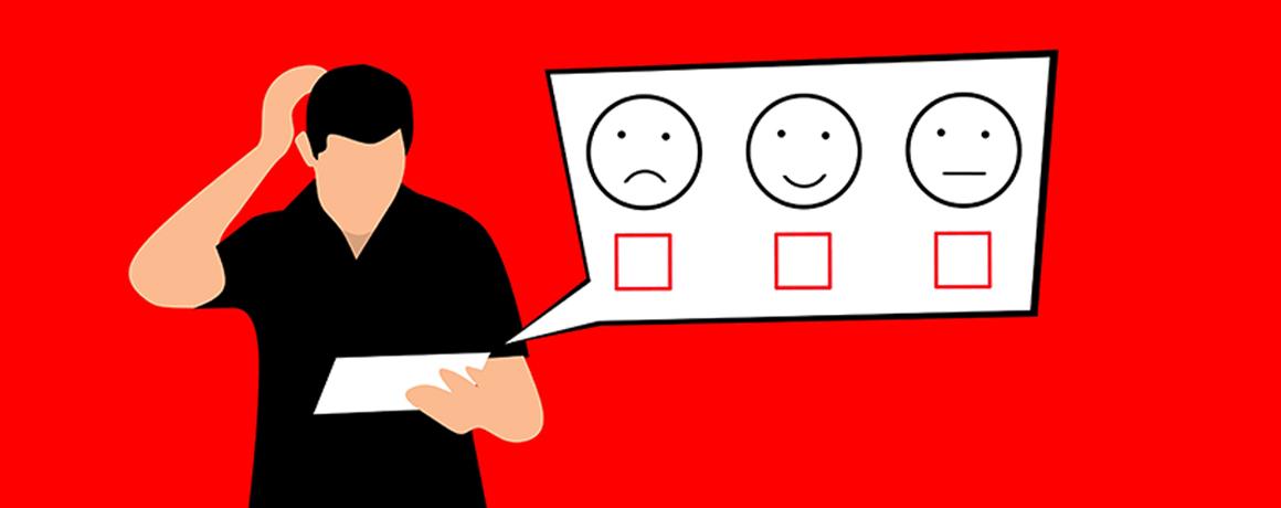 Man som kliar sig i huvudet och tittar på ett papper. Från pappret syns en pratbubbla som visa tre smileys för ledsen, glad och neutral.